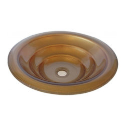 Novatto - BRONZO Gold Hand Painted Round Glass Vessel Sink with Tiered Bottom - Truly a favorite, the Bronzo is a unique vessel constructed of high tempered glass with a gold color hand painted tiered bottom. Novatto uses advanced technology, including computerized glass processing, to produce glass basins with unmatched structural integrity and longevity. Internal testing has found these glass vessels to be very durable and forgiving. Items such as toothbrushes or small jewelry should not scratch the surface. For best cleaning results, a soft cloth with mild soap and water or a non-abrasive glass cleaner is recommended. Made with the highest standards of quality and creative design, Novatto sinks add art and function to any bath or powder room.