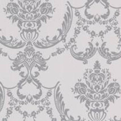 Graham and Brown - Palais Wallpaper Swatch - Silver/Gray - Palais Damask wallpaper - a classic damask design that adds the illusion of textured silk.