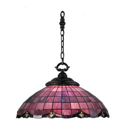 Meyda Tiffany - Meyda Tiffany Meyda Originals Pendant Lighting Fixture - Shown in picture: Elan Pendant; Plum/Raspberry Colored Glass Shades Trimmed In Swooping Scallops Of Amethyst Hues Accented By Sparkling Amber Jewels And Clear Granite Glass. This Pendant Features Carved Leaves In A Verdi Washed Ebony Finish. The Early 20th Century Inspired Motif - Re-Explored By The Meyda Tiffany Design Team - Integrates Art Nouveau With Victorian.; Smallest height shown - expandable from 23-50.