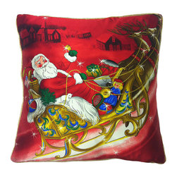 Frontgate - Santa Sleigh Satin Christmas Throw Pillow - Made of 100% silk. Printed on one side; solid color back. Premium down fill encased in two layers of cotton. Embellished with colorful Swarovski® crystals. Hidden zipper closure . Make your setting merrier with our Santa Sleigh Pillow. This plush pillow features a jolly Santa Claus and his reindeer flying through the air and ready to deliver presents to the village in the background. The luxurious silk satin cover gleams with tiny Swarovski crystals. Soft down fill is a joy to rest and lounge against.  .  .  . Embellished with colorful Swarovski crystals . Hidden zipper closure .