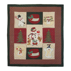 Patch Quilts - Jolly Snowmen Quilt King 105 x 95 - - Intricately appliqued and beautifully hand quilted.Bedding ensemble from Patch Magic  - The Name for the finest quality quilts and accessories  - Machine washable.Line or Flat dry only Patch Quilts - QKJLYS