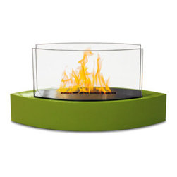 Anywhere Fireplace - Lexington Tabletop Ventless Bio Ethanol Fireplace, Green - Forget about candles and other table top accents to add ambiance. The Lexington model Anywhere Fireplace brings you all the tabletop elegance you are looking for with its distinctive shape, high gloss finish and its real flames. Enjoy the ambiance of a real fire but without the hassle of smoke, melting wax, soot, ash, smell, etc. Use it on the dinner table or a coffee table. The possibilities are endless with the Lexington from Anywhere Fireplace. It will suit any decor and enhance any dinner party. Makes a great gift too.