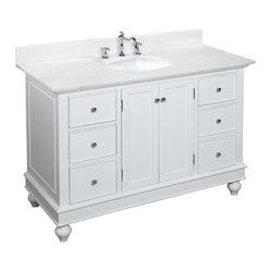 Kitchen Bath Collection - Bella 48-in Bath Vanity (White/White) - This bathroom vanity set by ...