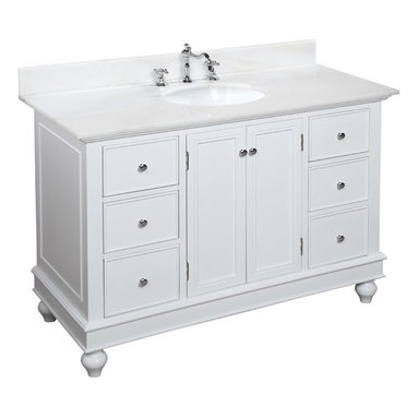 Kitchen Bath Collection - Bella 48-in Bath Vanity (White/White) - This bathroom vanity set by Kitchen Bath Collection includes a white cabinet with soft close drawers, white marble countertop, single undermount ceramic sink, pop-up drain, and P-trap. Order now and we will include the pictured three-hole faucet and a matching backsplash as a free gift! All vanities come fully assembled by the manufacturer, with countertop & sink pre-installed.