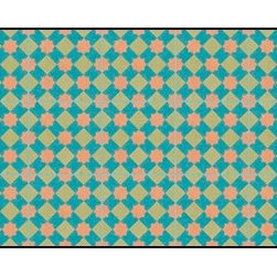 Casart coverings - Khatakriss Wallcoverings, Teal/Orange/Tan, Small Roll (37 Sq Ft), Casart Regular - Add some Marrakesh style to your home dcor with this Moroccan-inspired collection of faux tile patterns.