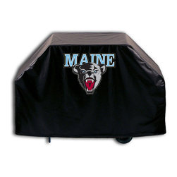 """Holland Bar Stool - Holland Bar Stool GC-MaineU Maine Grill Cover - GC-MaineU Maine Grill Cover belongs to College Collection by Holland Bar Stool This Maine grill cover by HBS is hand-made in the USA; using the finest commercial grade vinyl and utilizing a step-by-step screen print process to give you the most detailed logo possible. UV resistant inks are used to ensure exeptional durablilty to direct sun exposure. This product is Officially Licensed, so you can show your pride while protecting your grill from the elements of nature. Keep your grill protected and support your team with the help of Covers by HBS!"""" Grill Cover (1)"""