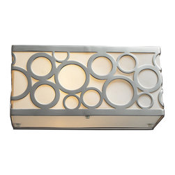 Elk Lighting - Elk Lighting 31021/1 Retrovia 1-Light Vanity in Polished Nickel - 1-Light Vanity in Polished Nickel belongs to Retrovia Collection by During The 1950S, There Was A Renewed Sense Of Style And Design From Consumer Products To Fashion And Beyond. This Design Movement Coined The Term ��_��_��_��_��_Mid-Century Modern��_��_��_��_��_ Which Became A Leading Design Movement. Finished In Polished Nickel, This Collection Embodies The Excitement Of The Time Period With Laser Cut Circles, Opal Etched Cylindrical Glass, And A White Diffuser That Accents The Drum And Vanity Fixtures. Sconce (1)