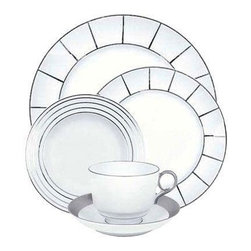 "Porcel Excentric Platinum Dinner Plates - 3 - This is a set of 3 Porcel Excentric Platinum Dinner Plates. Concentric circles and geometric shapes in platinum decorate this dinnerware for a pattern that's a little bit out of the ordinary. Crafted from fine Limoges porcelain, this contemporary pattern will update any table.  We recommend hand washing for large or handpainted items, or items with gold or platinum decoration. Items with metallic decoration should not be microwaved. Porcel was founded in 1987 in the heart of Portugal about 20Km from Aveiro, Portugal's ""Venice of the Atlantic"".  The company has gained national and international recognition for the quality of its products and service, its approach to the challenges of design and innovation, and for its vision of the future. Not resting on the laurels of their considerable success, they always strive to achieve perfection in every piece, never being satisfied with less and always looking to improve."