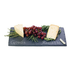 Slate Cheese Serving Tray - What party have you been to that didn't serve cheese? Now it can be served elegantly on a slate chalkboard.