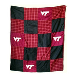 Traditions Art Glass Studios - Virginia Tech University Quilt - -Large 50 x 60 Ultra suede patchwork quilt with chenille school logos  -Great for tailgating, keeping warm at games, or watching games on TV  -Machine washable. Traditions Art Glass Studios - VAT805