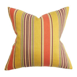 The Pillow Collection - Hollis Stripes Pillow Orange Yellow - Deliver a sleek look to your interiors with our casual throw pillow. This accent pillow adds a visually appealing element to your living room or bedroom. The classic stripes pattern is updated with a bold and summer-ready color palette in shades of orange, yellow, red, green and white. Update any of your rooms with this simple yet sensational throw pillow. Made of 95% cotton and 5% linen fabric. Hidden zipper closure for easy cover removal.  Knife edge finish on all four sides.  Reversible pillow with the same fabric on the back side.  Spot cleaning suggested.