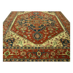 Area Rug, 10'X14' Hand Knotted Serapi Heriz 100% Wool Rust Red Rug SH10006 - This collections consists of well known classical southwestern designs like Kazaks, Serapis, Herizs, Mamluks, Kilims, and Bokaras. These tribal motifs are very popular down in the South and especially out west.