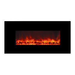 Yosemite Home Decor - Yosemite Home Decor DF-EFP1000 Contemporary Large Glass Electric Heater - Sleek - The DF-EFP1000 from Yosemite Home Decor's new line of electric fireplaces will look absolutely perfect in a contemporary home or interior. It has a sleek glass surface that comes in a smooth black finish. Because of its easy wall mount installation, the fireplace can be hung on any empty wall to suit the interior of the room. The flames produced come in a patented pattern that seeks to imitate the look of real flames. The DF-EFP1000 can double as an electric heater, thus adding value for your money. To top everything off, operation is a breeze with the remote control that is included in the package. Yosemite Home Decor's DF-EFP1000 provides value-both in aesthetics and functionality-to a room.