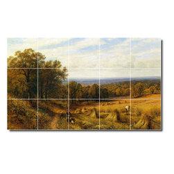 Picture-Tiles, LLC - Harvest Time 1889 Tile Mural By Alfred Glendening - * MURAL SIZE: 24x40 inch tile mural using (15) 8x8 ceramic tiles-satin finish.