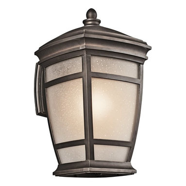 KICHLER - KICHLER McAdams Transitional Outdoor Wall Sconce X-ZR27294 - Subtle tapering and modern clean lines give an updated look to the traditional style and flair of this Kichler Lighting outdoor wall sconce. From the McAdams Collection, a warm Rubbed Bronze finish compliments the traditional shape while the light umber etched seedy glass shade completes the look.