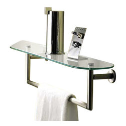 "Motiv - Motiv 0219T-18-PC Sine 18 Glass Shelf with Towel Bar (0219T-18/PC) - Motiv 0219T-18-PC Sine 18"" Glass Shelf with Towel Bar, Polished Chrome"