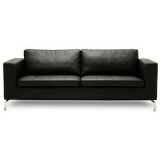 Modern Sofas Greenwich Black Leather 3 Seat Couch
