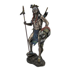 Sioux Tribe Warrior Statue with Spear and Shield - This stunning statue depicts a Sioux Native American warrior, prepared for battle with spear and shield in hand, quiver and bow on his back, and war paint on his face. Made of cold cast resin, it measures 11 1/2 inches tall, 5 1/4 inches wide, 3 3/4 inches deep, and has a bronzed finish accented by bold colors that emphasize the detail of the piece. The detail is exquisite, from the muscle tone to the facial features and texture of the feathers. The base is lined with felt to protect delicate surfaces, so you can display it anywhere in your home or office. This piece makes a great gift for history buffs, and is sure to be admired. NOTE: The spear is packaged separately from the statue on the outside of the styrofoam.