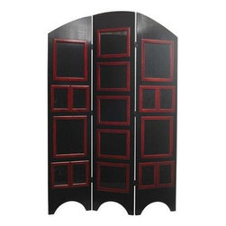 Oriental Furniture - 5 1/2 ft. Tall Arc Top Photo Screen - Black - Display photographs, art, documents, blueprints, or maps in the home or a commercial setting, with an art deco flair with this Arc Top Photo room divider.