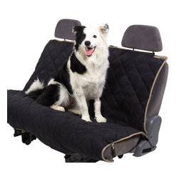 Pet Ego - Black & Stone Velvet Seat Cover - Keep your car dirt- and hair-free with this velvet seat cover, featuring plush quilting for maximum comfort and multiple straps that help keep your pooch in place!   Velvet Machine wash Imported