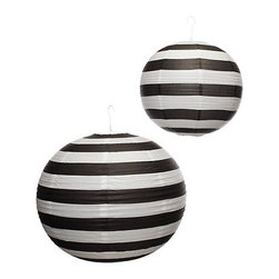 Portofino Lanterns, Black & White Stripe - Stripes seem to be everywhere these days, so it's not surprising that you can decorate a party space with striped paper lanterns.