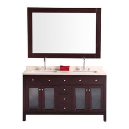 """Design Elements - Design Elements DEC302A Vanity in Cherry Finish - The Venetian 60"""" vanity set combines a classic feel with modern simplicity through its warm color palette, round handles, and crisp lines. The espresso cabinet features solid hardwood construction for both the frame and the panels. Seated at the base of the two under-mount ceramic sinks are chrome pop-up drains, designed for easy one-touch draining. Practicality was not sacrificed, as this vanity includes six pullout drawers and two soft-closing double-door cabinets, all accented with satin nickel hardware."""