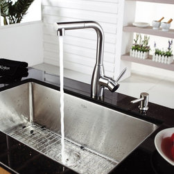 Kraus - Kraus KHU100-30-KPF2140-SD20 Single Basin Undermount Kitchen Sink with Faucet Mu - Shop for Kitchen from Hayneedle.com! Bring home the Kraus KHU100-30-KPF2140-SD20 Single Basin Undermount Kitchen Sink with Faucet to transform your kitchen with its inspired modern design. The faucet doubles as a strong sprayer to wash down produce and dishes with ease. The stainless steel basin is large enough to suit any task and has a satin finish to hide scratching.Product SpecificationsBowl Depth (inches): 10Weight (pounds): 31Low Lead Compliant: YesEco Friendly: YesMade in the USA: YesHandle Style: LeverValve Type: Ceramic DiscFlow Rate (GPM): 2.2Spout Height (inches): 11Spout Reach (inches): 8.75About KrausWhen you shop Kraus you'll find a unique selection of designer pieces including vessel sinks and faucet combinations. Kraus incorporates its distinguished style with superior functionality and affordability while maintaining highest standards of quality in its vast product line. The designers at Kraus are continuously researching and exploring broader markets seeking new trends and styles. Additionally durability and reliability are vital components at Kraus for developing high-quality fixtures. Every model undergoes rigorous testing and inspection prior to distribution with customer satisfaction in mind. Step into the Kraus world of plumbing perfection. With supreme quality and unique designs you will reinvent how you see your bathroom decor. Let your imagination become reality!