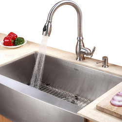 "Kraus - Kraus 30"" Farmhouse Single Bowl Stainless Steel Sink Combo Set - Add an elegant touch to your kitchen with unique Kraus kitchen combo"