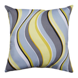Land of Pillows - Waverly Fluid Curves Lemon Decorative Wave Stripe Throw Pillow, 16x16 - Fabric Designer - Waverly