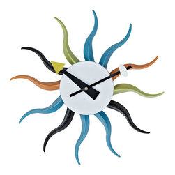 Modway - Sunbean Wall Clock in White Black Yellow Blue Green Orange - Bask in the collective wave of inspiration as you ride the continual present to its fullest. Be inspired by the range of possibilities with Sunbeam's twelve multi-colored metal shafts that seemingly reverberate through the cosmos. The pulse of life takes you through temporal dynamics as you inherit the future with this modern take on a mid-century classic.
