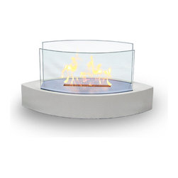 Anywhere Fireplace - Gramercy Indoor/Outdoor Floor Fireplace, White - Dimensions: 32 x 12 x 17 inches