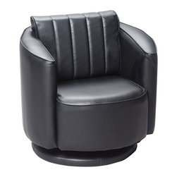 Gift Mark - Gift Mark Home Kids Children Adult Upholstered Swivel Chair Black - The Gift Mark Black Swivel Chair for children is truly a new and unique child's seat. Made with a solid and sturdy swivel base this chair swivels 360 degrees, and has the look and feel of fine leather. Made with an extremely thick cushion and padding, you will have no problems convincing your child to have a seat in this luxurious chair. In fact, your child will enjoy the seat so much, you will have a hard time getting them out of the chair.