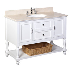 Kitchen Bath Collection - Beverly 48-in Bath Vanity (Crema Marfil/White) - This bathroom vanity set by Kitchen Bath Collection includes a white cabinet with soft close drawers, beige Spanish Crema Marfil marble countertop, single undermount ceramic sink, pop-up drain, and P-trap. Order now and we will include the pictured three-hole faucet and a matching backsplash as a free gift! All vanities come fully assembled by the manufacturer, with countertop & sink pre-installed.