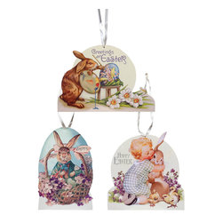 Ohio Wholesale, Inc. - Sugared Easter Door Décor Set - Ready to hang on your wall, these Easter décor pieces lend color and springtime charm to your home.   Includes three pieces of décor 8.25'' W x 12.5'' H Wood Ready to hang Imported