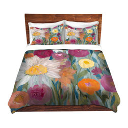 DiaNoche Designs - Duvet Cover Twill by Carrie Schmitt - Earth at Daybreak - Lightweight and soft brushed twill Duvet Cover sizes Twin, Queen, King.  SHAMS NOT INCLUDED.  This duvet is designed to wash upon arrival for maximum softness.   Each duvet starts by looming the fabric and cutting to the size ordered.  The Image is printed and your Duvet Cover is meticulously sewn together with ties in each corner and a concealed zip closure.  All in the USA!!  Poly top with a Cotton Poly underside.  Dye Sublimation printing permanently adheres the ink to the material for long life and durability. Printed top, cream colored bottom, Machine Washable, Product may vary slightly from image.