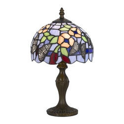 Cal Lighting - Cal Lighting BO-2378AC Tiffany 1 Light Pedestal Base Table Lamp - Features:
