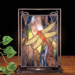 Meyda - 10.5 Inch H X 7.5 Inch W Dragonfly Mini Window Windows - Color Theme: Pbag Flame Orange