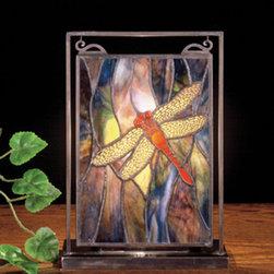 Meyda - 10.5 Inch H x 7.5 Inch W Dragonfly Mini Windows - Color theme: Pbag flame orange
