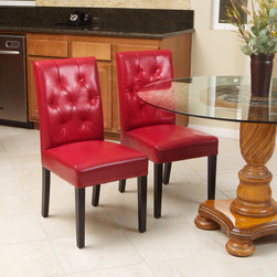 Christopher Knight Home - Christopher Knight Home Gentry Bonded Leather Red Dining Chair (Set of 2) - Ideal for the dining room and suitable for use as occasional chairs,these luxurious red leather dining chairs features tufted backs and a sleek armless design. With comfortable padded seats and sturdy wood construction,they offer lasting style.