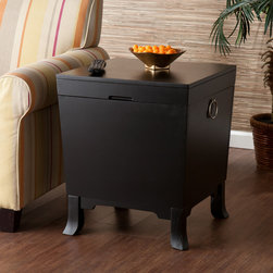 Upton Home - Parsons Black End Table Trunk - Discover a new storage option, hidden right in plain sight, with this great end table trunk. Add this Parsons black end table trunk to living rooms or family rooms with transitional to modern decor.