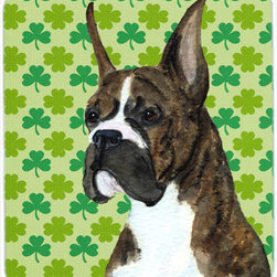 Caroline's Treasures - Boxer St. Patrick's Day Shamrock Portrait Mouse Pad, Hot Pad Or Trivet - Mouse Pad, hot pad or trivet ... Long lasting polyester surface provides optimal tracking. Sure-grip rubber back. Permanently dyed designs. 7 3/4 inches x 9 1/4 inches. Heat Resistant up to 400 degrees. Let something from the oven rest on the stove before placing it on the mouse pad as it will scorch the fabric on the top of the pad. Use as a large coaster for multiple drinks or a pitcher.