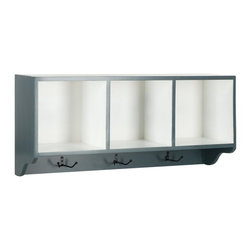Safavieh - Avice Wall Shelf - Reminiscent of schoolhouse cubbies, the Avice wall shelf is designed to minimize entry hall clutter and keep kids organized.  Finished in navy blue with contrasting white interior storage spaces, this charming piece also has hooks for coats and scarves.  With its clean casual lines, the Avice wall shelf complements transitional and traditional interiors.