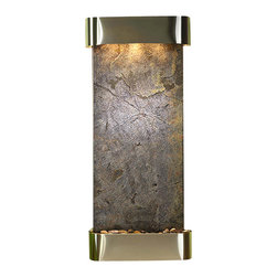 Adagio Water Features - Inspiration Falls Wall Fountain, Stainless Steel, Green Featherstone, Rounded Fr - Comes complete with polished river rock, halogen lighting, and electric pump.