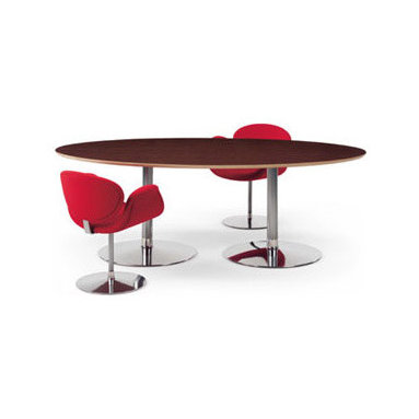 "Circle Tables By Artifort - The Circle table program with tops are on a round aluminum base. The high tables (28.9"") can be used as dinning, work or meeting tables. The low tables (15.6"") are suitable for waiting areas, or suitable as coffee or accent tables. Ideal in combination with the Tulip chair. Designed by Pierre Paulin, 1960"