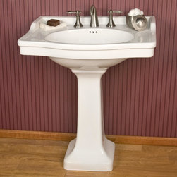 Cierra Large Pedestal Sink - This oversized pedestal sink features a large basin top with plenty of counter space, perfect for soap dispensers or other bath items. Pair with your choice of widespread faucet.