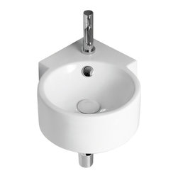 Caracalla - Round White Ceramic Wall Mounted Corner Bathroom Sink, One Hole - Wall mounted circular sink for the bathroom corner. Made from ceramic and finished in white. Comes with a single faucet hole and overflow. Designed by Caracalla in Italy.