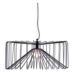 Zuo Modern Contemporary, Inc. - Foehn Ceiling Lamp Black - A black wire cage forms the shade of the Foehn Ceiling Lamp. The glow through the painted metal bars casts a striking effect. A bold piece for your ceiling.