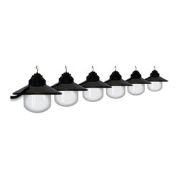 Polymer Products LLC - Polymer Products LLC Six Globe String Light Set - Black - 1632-77405-PRE - Shop for Lighting from Hayneedle.com! On trend and with a clean modern look string lights are an easy way to add flair and fun to your outdoor decor. Light up the outdoors with this weather-resistant Polymer Products LLC Six Globe String Light Set - Black. It's perfect for decoration or functional lighting. Great for decks patios porches awnings and recreational vehicles. Includes 20-ft. power cord and hanging hooks for installation. What exactly is polycarbonate lighting? Polycarbonate is resistant to shattering so it's perfect for outdoor lighting. It's UL/cUL-approved and is a great weather-resistant choice in lighting. Polymer Products proudly make their polycarbonate lighting here in the USA.