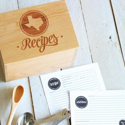 State Engraved Heirloom Recipe Box and Cards  - AK - We wanted to create the perfect recipe box, with a well thought out and designed recipe card set to accompany it. One that would be built to last, and to hand down for generations. With the innovation of the lid to be flipped over and double as a recipe card holder with a slightly angled slot to prop up your favorite recipe for easy reading. Perfect as a wedding, bridal shower, anniversary, or housewarming gift, or a great addition to your own kitchen! Customize this design with the state of your choice inside the circle. The lid has a lip on the bottom to fit perfectly within the top of the box. This recipe box fits standard 4x6 cards. Finished with a clear, satin coat.