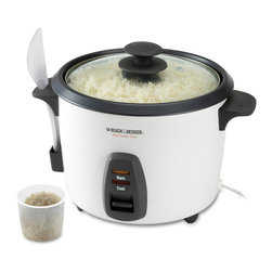 Salton - Black & Decker White 16-cup Rice Cooker - This rice cooker lets you make up to 16 cups of delicious, fluffy cooked rice. Great for white, brown, or flavored rice side dishes, the removable bowl of this rice cooker is submersible and has a non-stick coating for easy cleaning.